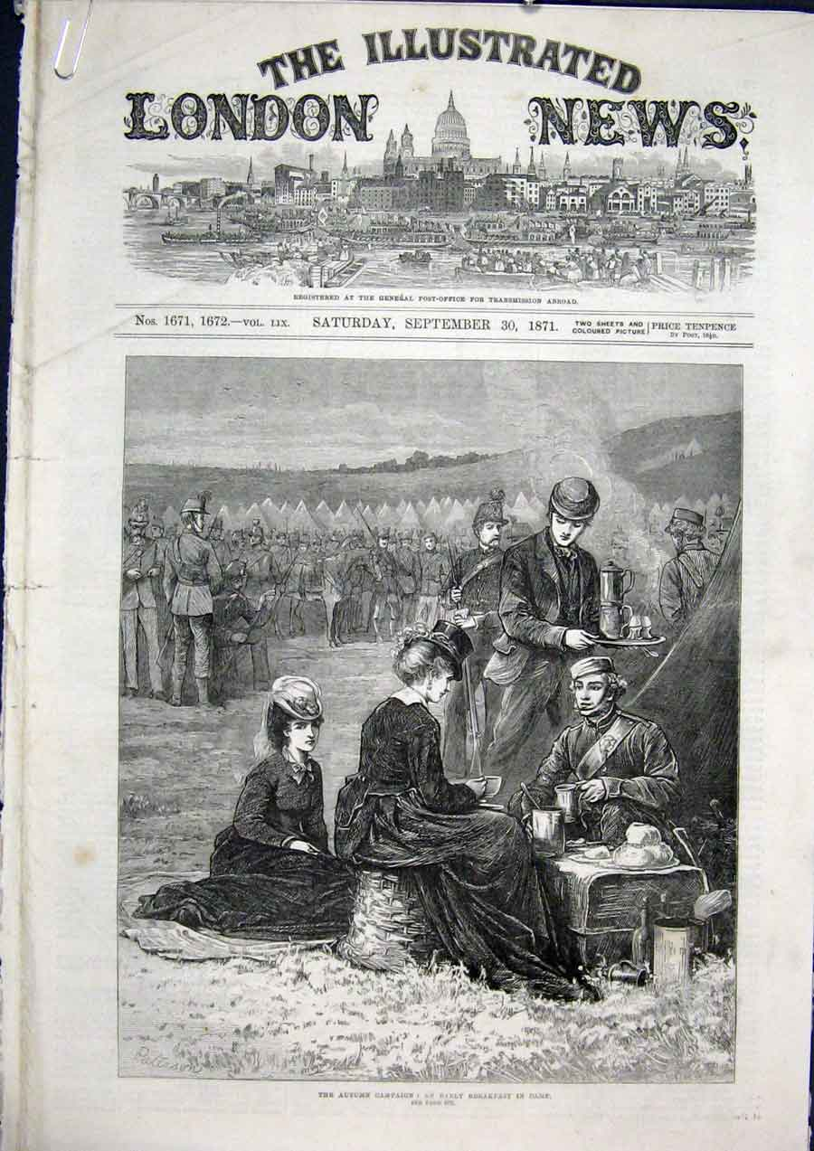 [Print Campaign Camp War Louise Prize Wimbledon Troops 1871 94Amaa1 Old Original]