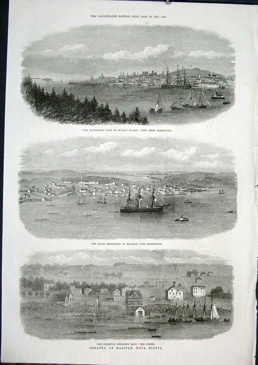 Print Regatta Halifax Nova Scotia Dartmouth Scullers Race 04Maa1 Old Original