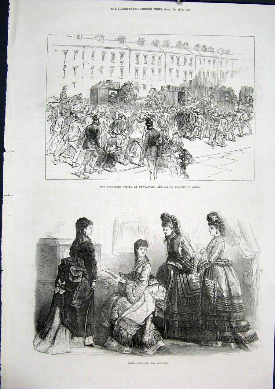 Print Paris Fashion Engineer Strike Newcastle 1871 05Maa1 Old Original