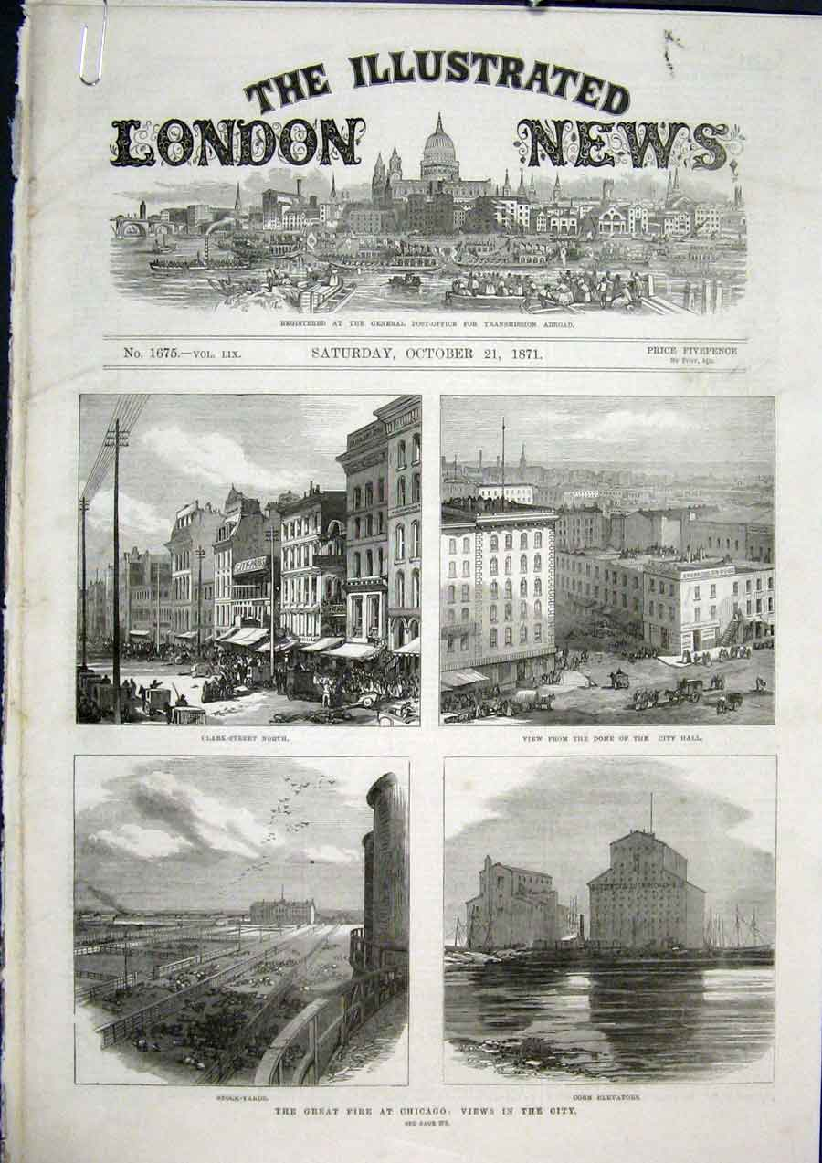 Print Fire Chicago Amercia Ogden College Railway Buildings 74Amaa1 Old Original