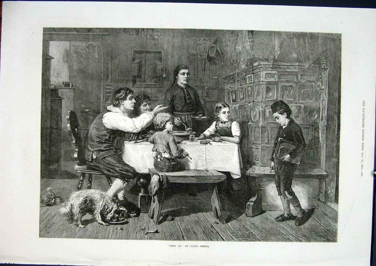 Print Geertz Kept In Dog Dinner Child Boy Fine Art 1871 80Maa1 Old Original