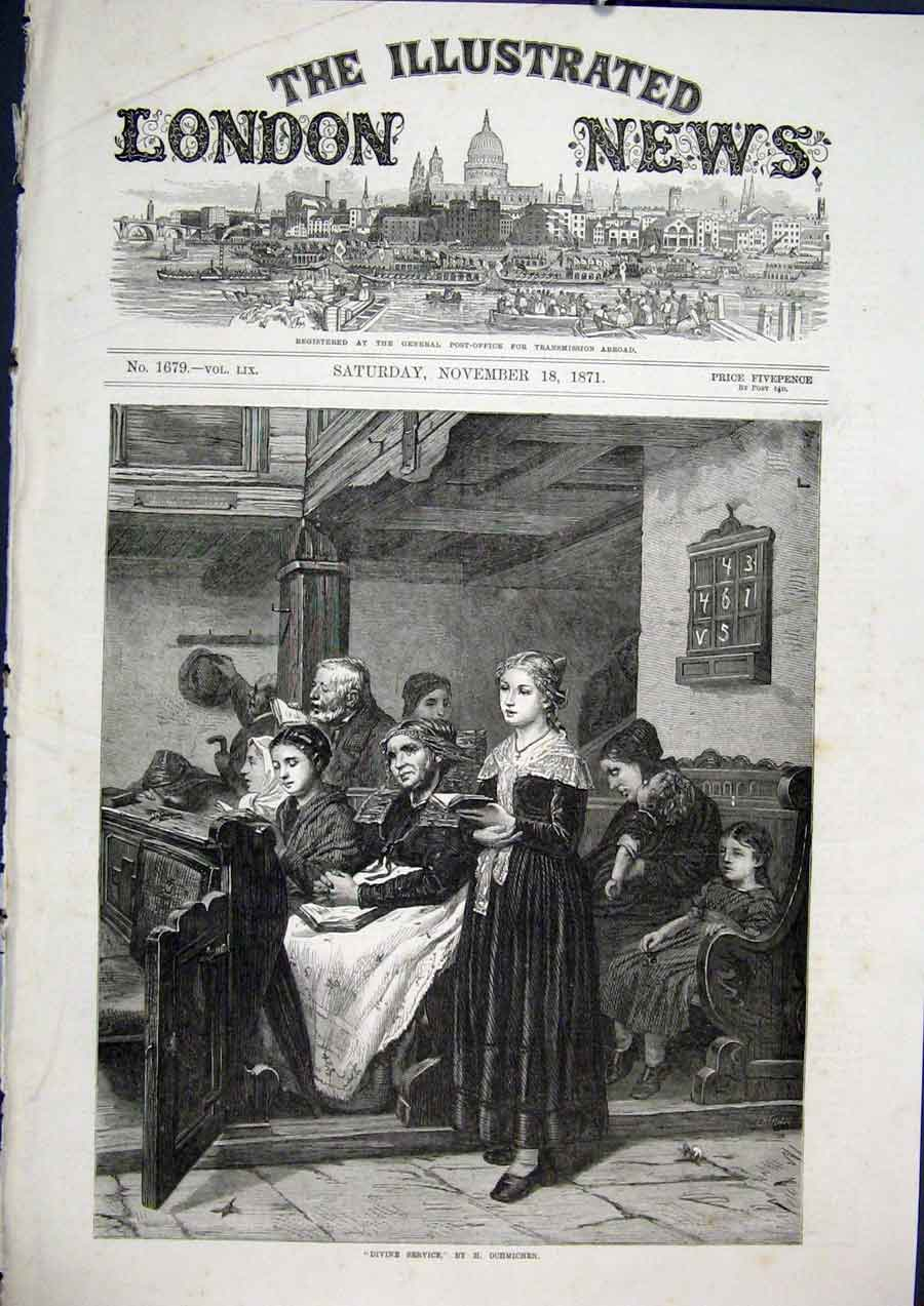 Print Divine Service Ochmichen Church Fine Art 1871 70Maa1 Old Original
