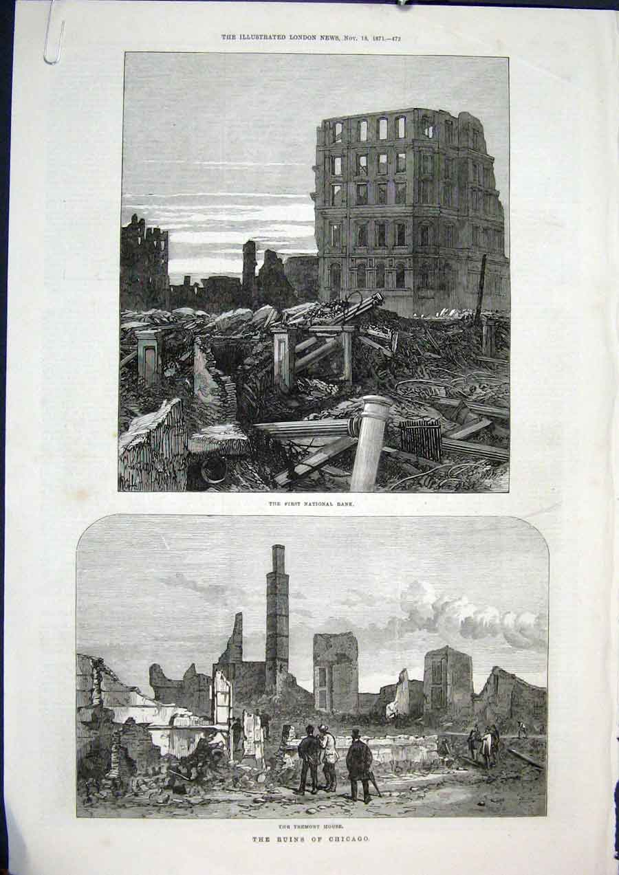 Print Chicago Fire Ruins America Tremont House Bank House 72Amaa1 Old Original