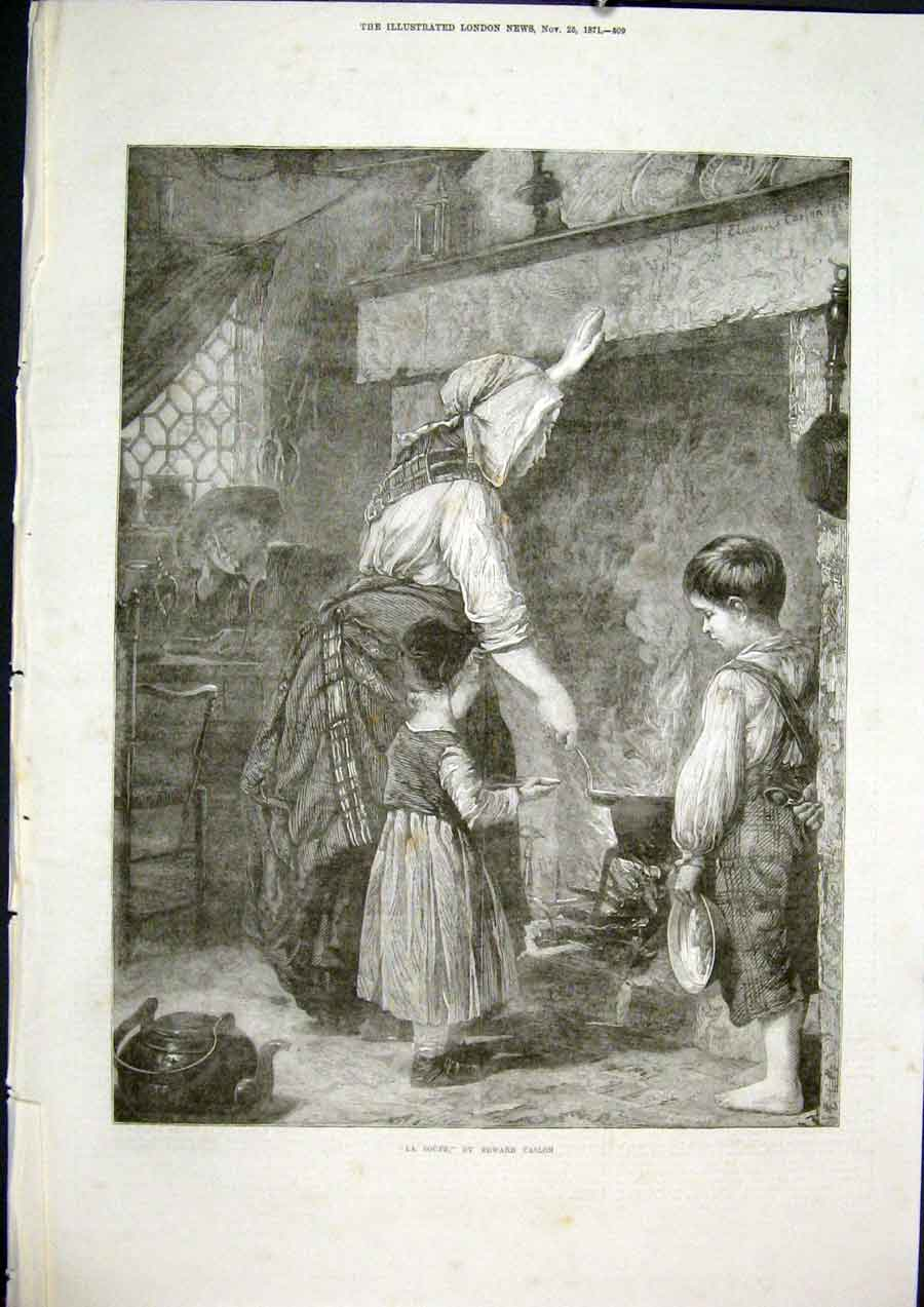 Print Soupe Soup Caslon French Artist France Fine Art 1871 09Maa1 Old Original