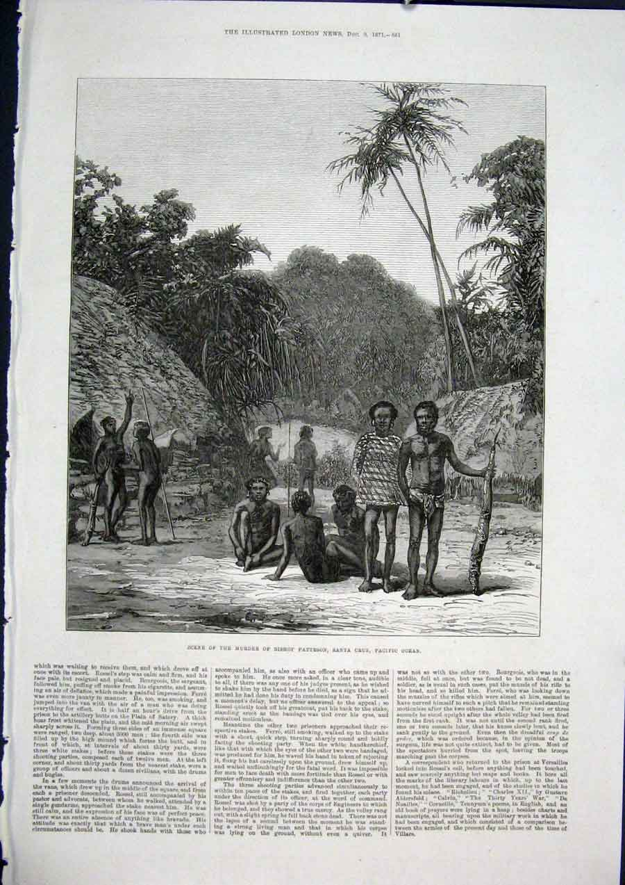 Print Bishop Patteson Santa Cruz Murder Pacific Ocean 1871 61Maa1 Old Original