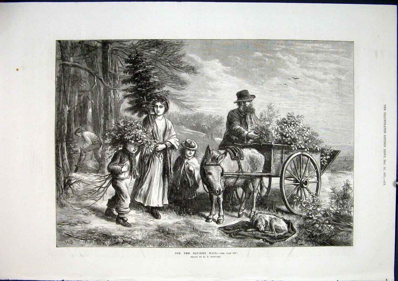 Print Squire'S Hall Squire Downard Donkey Fine Art 1871 72Maa1 Old Original