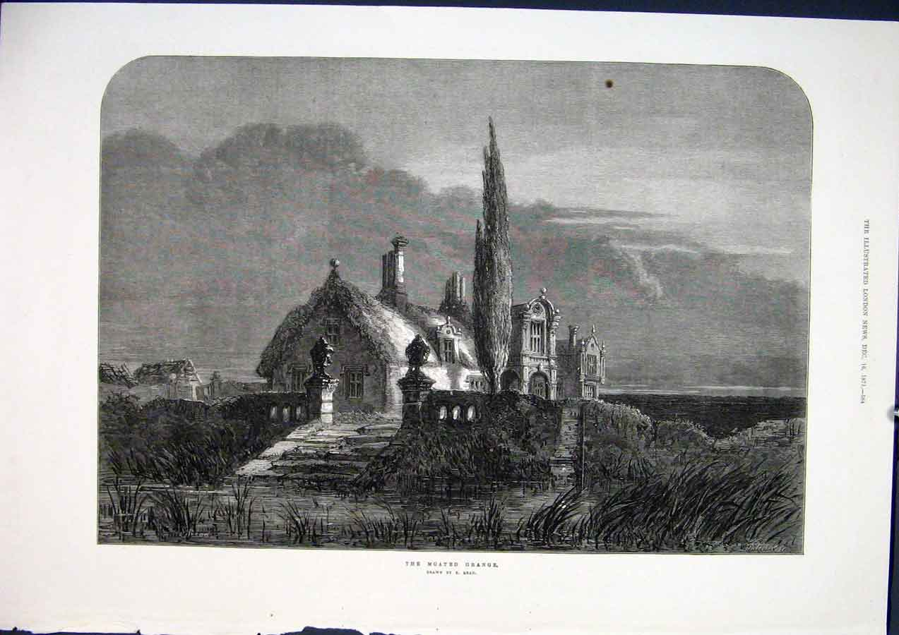 Print Moated Grange Read Fine Art 1871 House 84Maa1 Old Original