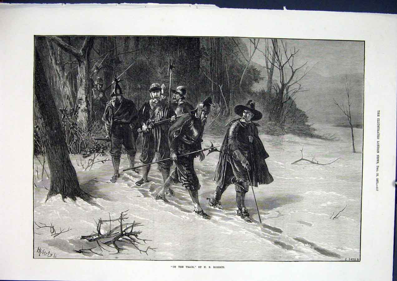 Print Track Roberts Trackers Snow Soldiers Fine Art 1871 17Maa1 Old Original