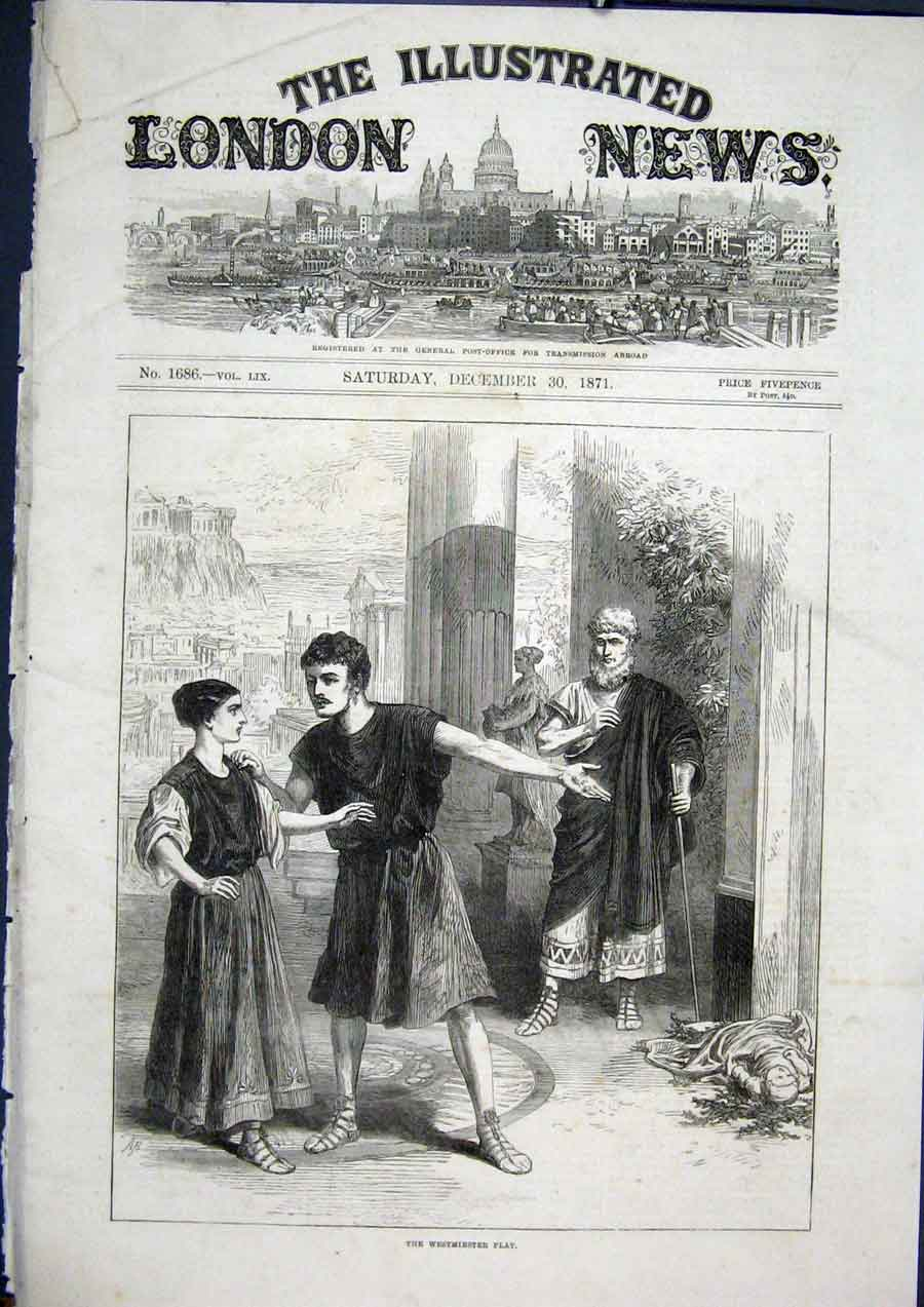Print Westminster Play Andrian 1871 Theatre 30Maa1 Old Original