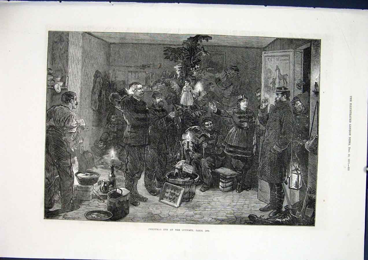 Print Christmas Eve Outpost Paris France 1871 33Maa1 Old Original
