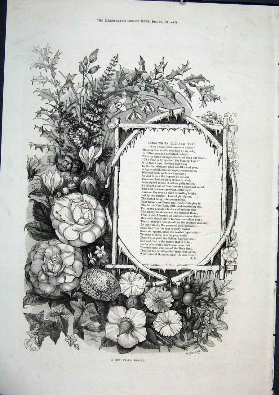 Print New Year Wreath Poetry 1871 Fine Art 1871 44Maa1 Old Original