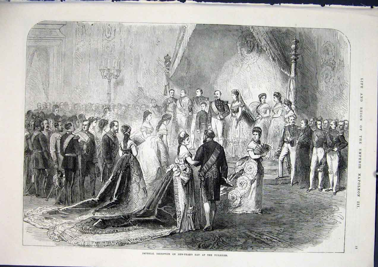 [Print Reception Tuileries Napoleon Genoa Italian War 1871 01Amaa1 Old Original]