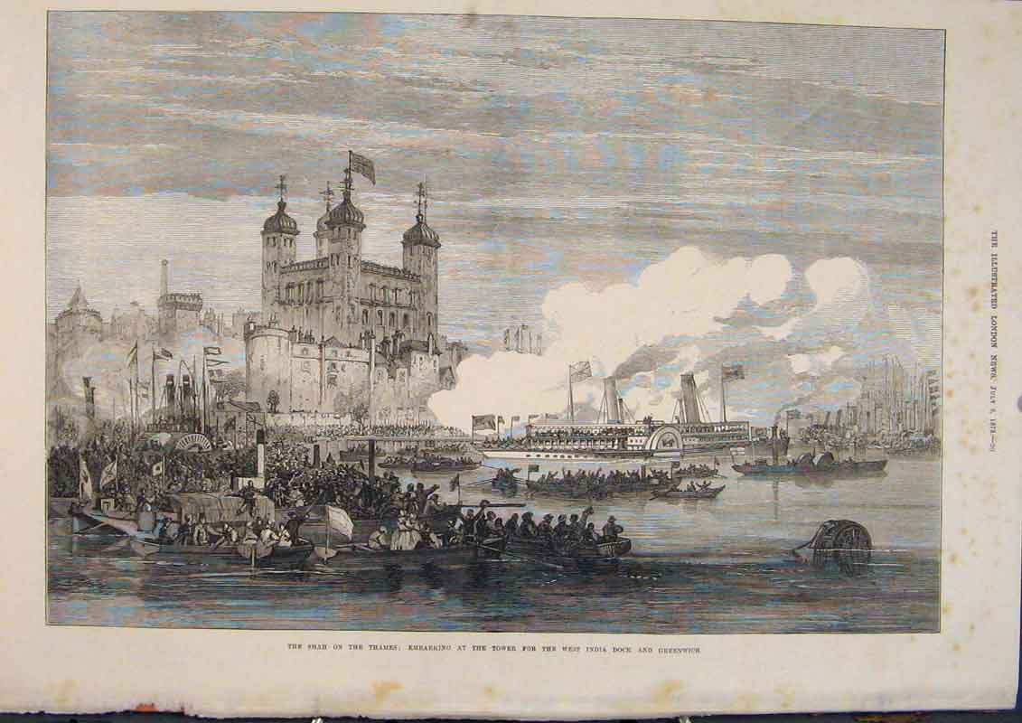 Print Shah Thames Tower West India Dock London Greenwich 1873 20Maa1 Old Original