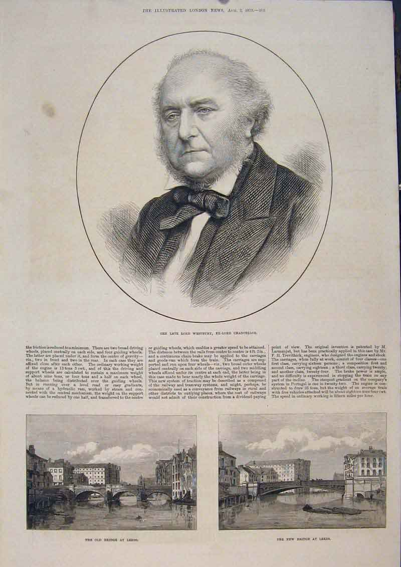 Print Portrait Westbury Lord Chancellor Bridge Leeds 1873 05Maa1 Old Original