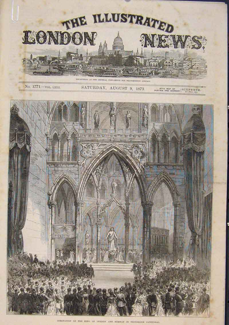 Print Coronation Cathedral Norway Sweden Trondhjem 1873 20Amaa1 Old Original