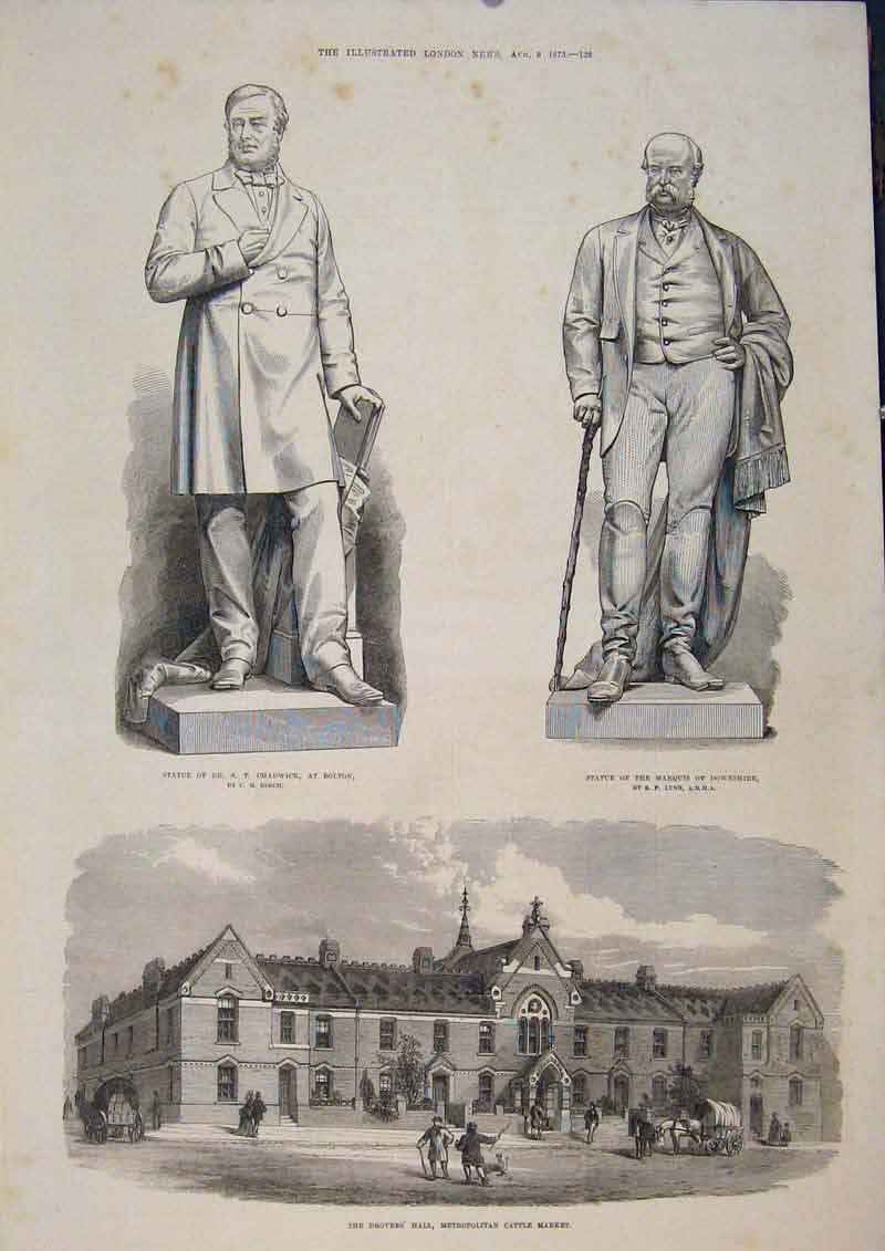 Print Statue Chadwick Downshire Birch Lynn Drover'S Hall 1873 29Maa1 Old Original