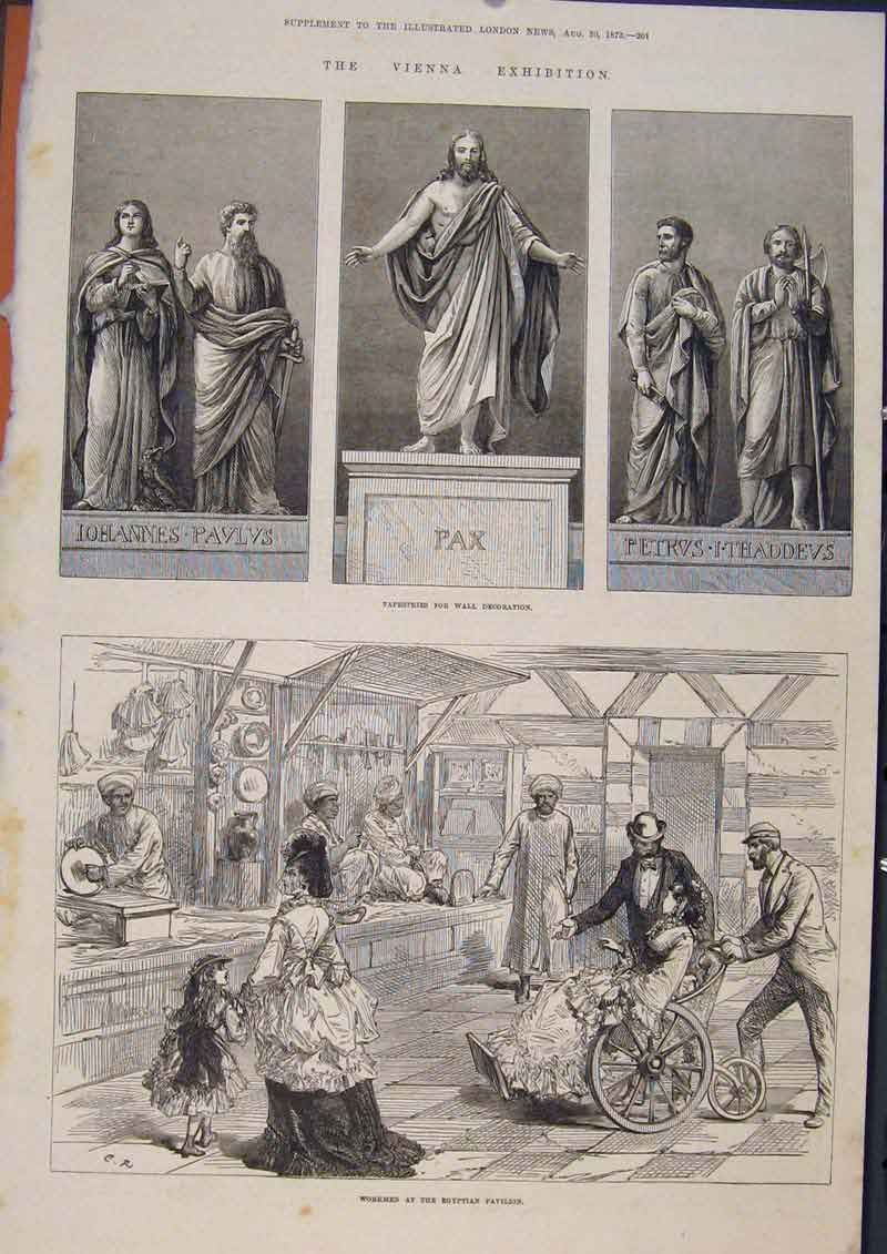 Print Tapestry Workmen Egyptian Pavilion 1873 01Maa1 Old Original