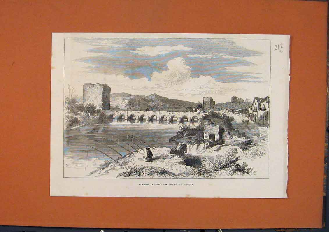 Print Sketches Spain Bridge Cordova Fishing 1873 12Lmaa1 Old Original