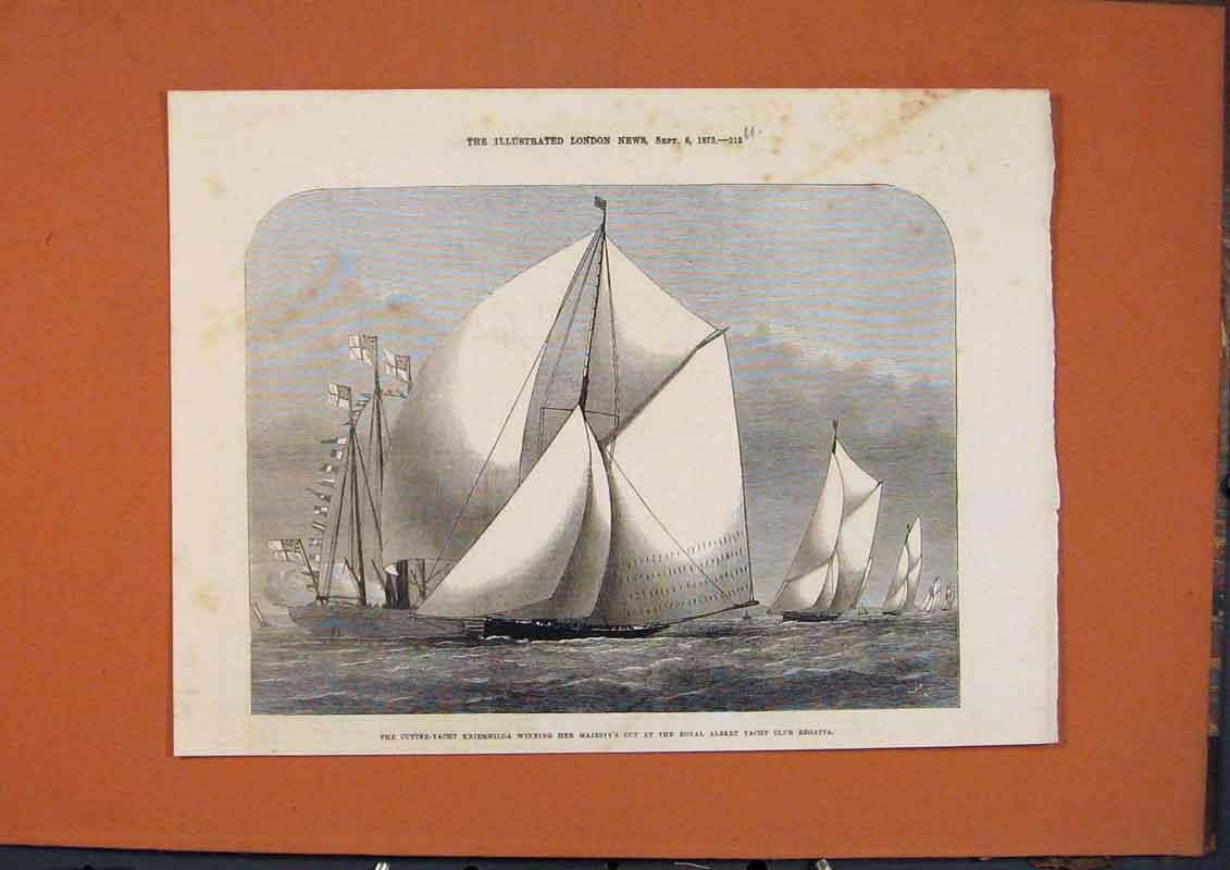 Print Cutter Yacht Kriemhailda Royal Albert Club Regatta 1873 12Umaa1 Old Original