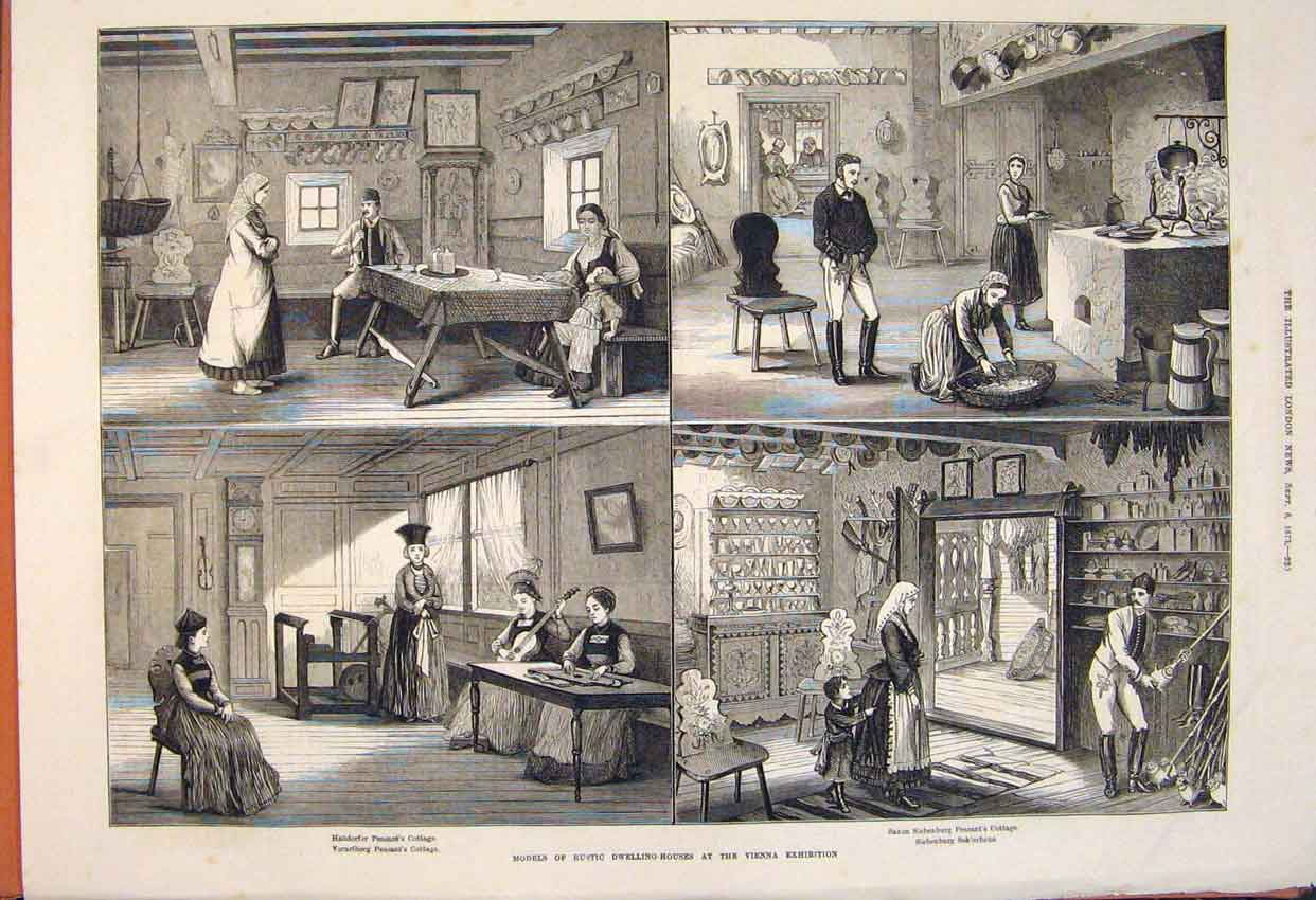 Print Model Rustic Dwelling House Vienna Exhibition 1873 20Maa1 Old Original