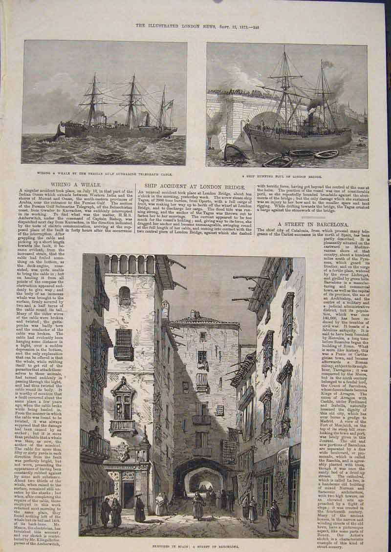 Print Whale Telegraph London Bridge Barcelona Spain 1873 45Maa1 Old Original