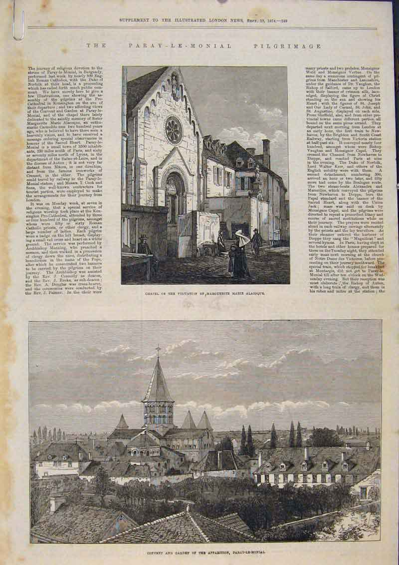 Print Chapel Convent Garden Paray-Le-Monial Pilgrimage 1873 49Amaa1 Old Original