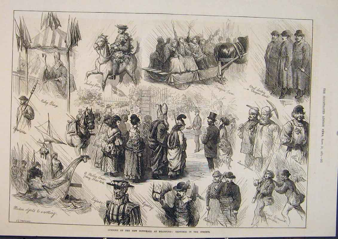 Print Townhall Bradford Sketches Staniland 1873 61Maa1 Old Original