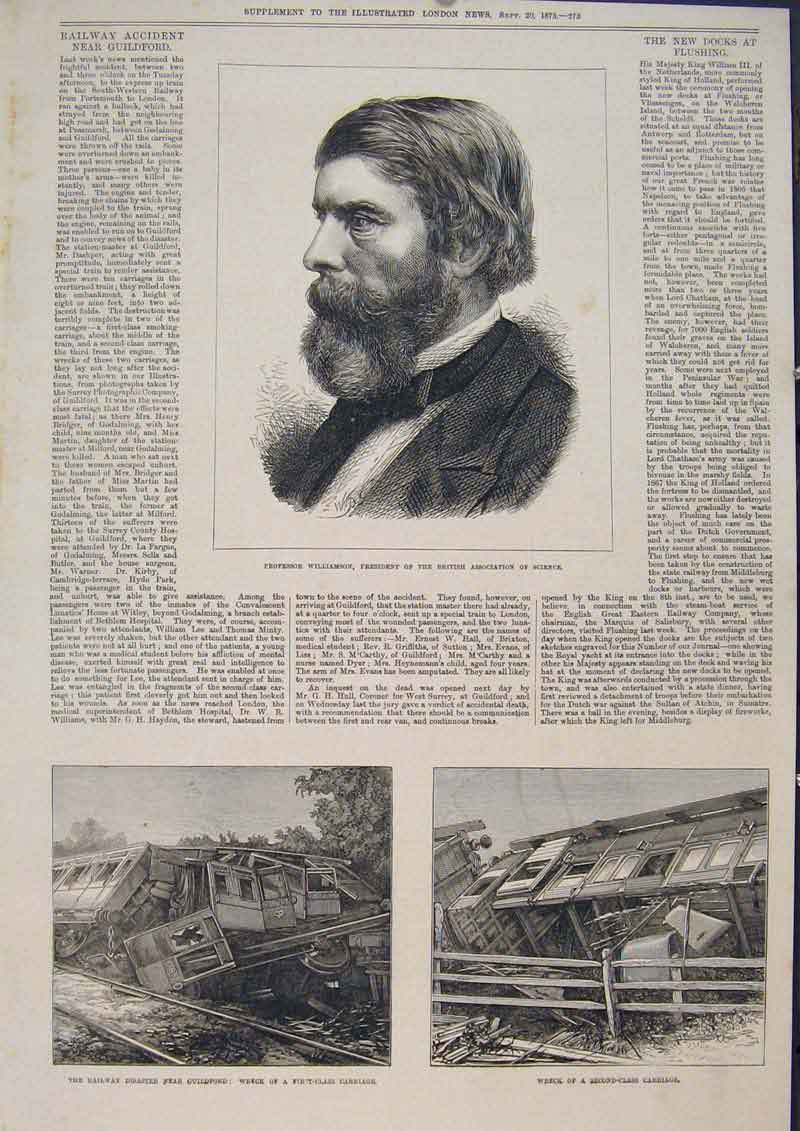 Print Portrait Williamson Science Carriage Railway Guildford 73Maa1 Old Original