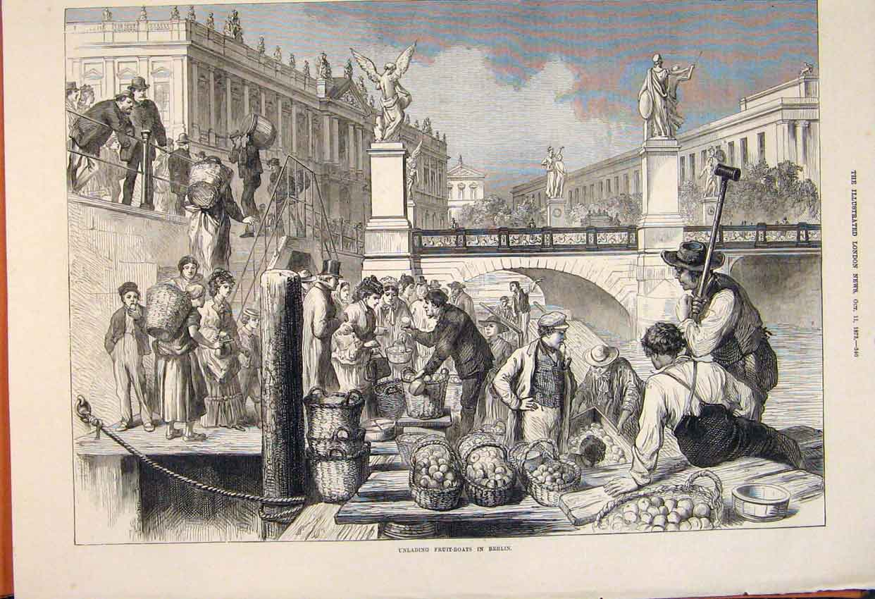 Print Unlading Fruit Boats Berlin Germany German Market 1873 40Maa1 Old Original