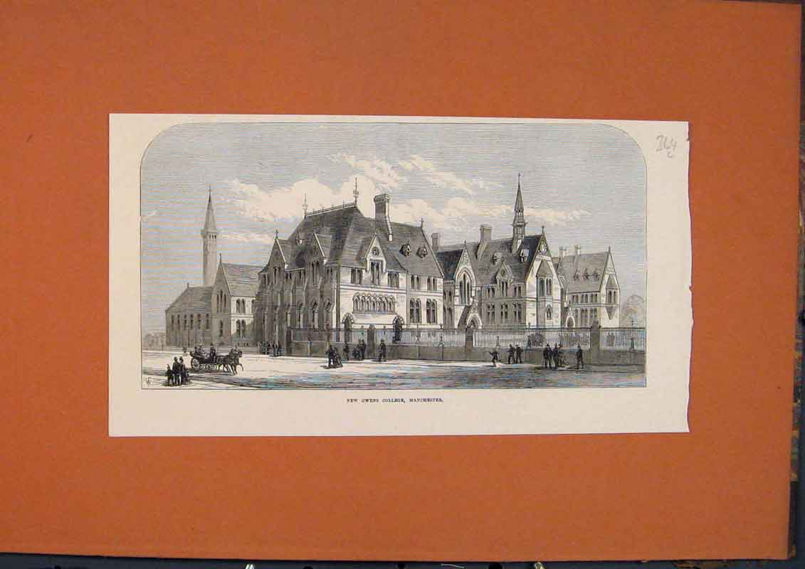 Print Manchester Owens College Building 1873 64Lmaa1 Old Original