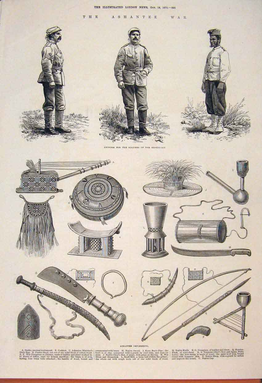 [Print Ashantee War Africa Unifrom Soldiers Expedition 1873 65Maa1 Old Original]