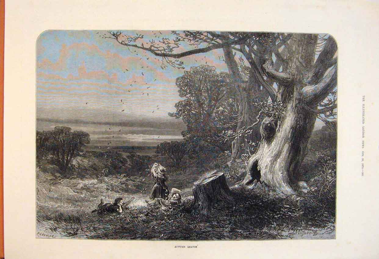 Print Autumn Leaves Forest Woodds Children 1873 81Maa1 Old Original