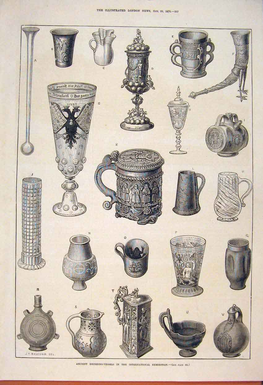 Print Ancient Drinking Vessels International Exhibition 1873 97Maa1 Old Original