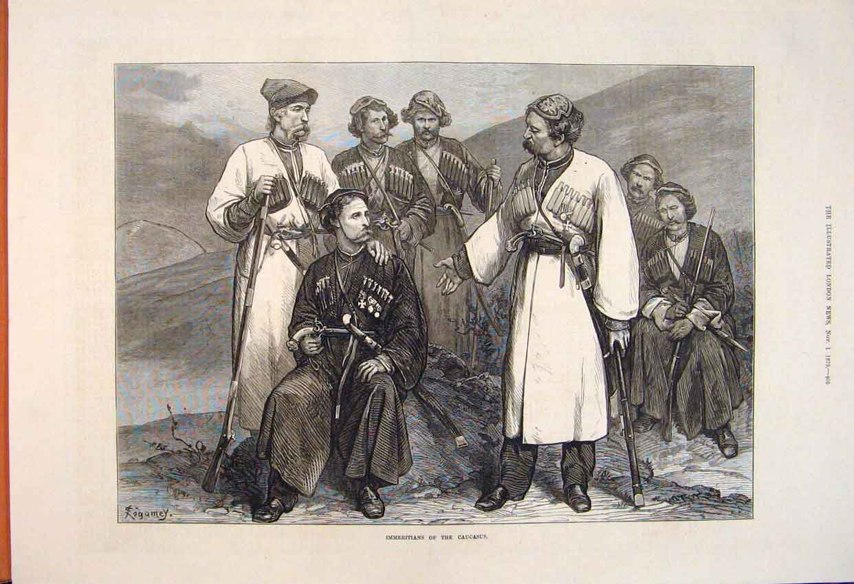 Print Immeritians Causasus People Portrait Group 1873 05Maa1 Old Original