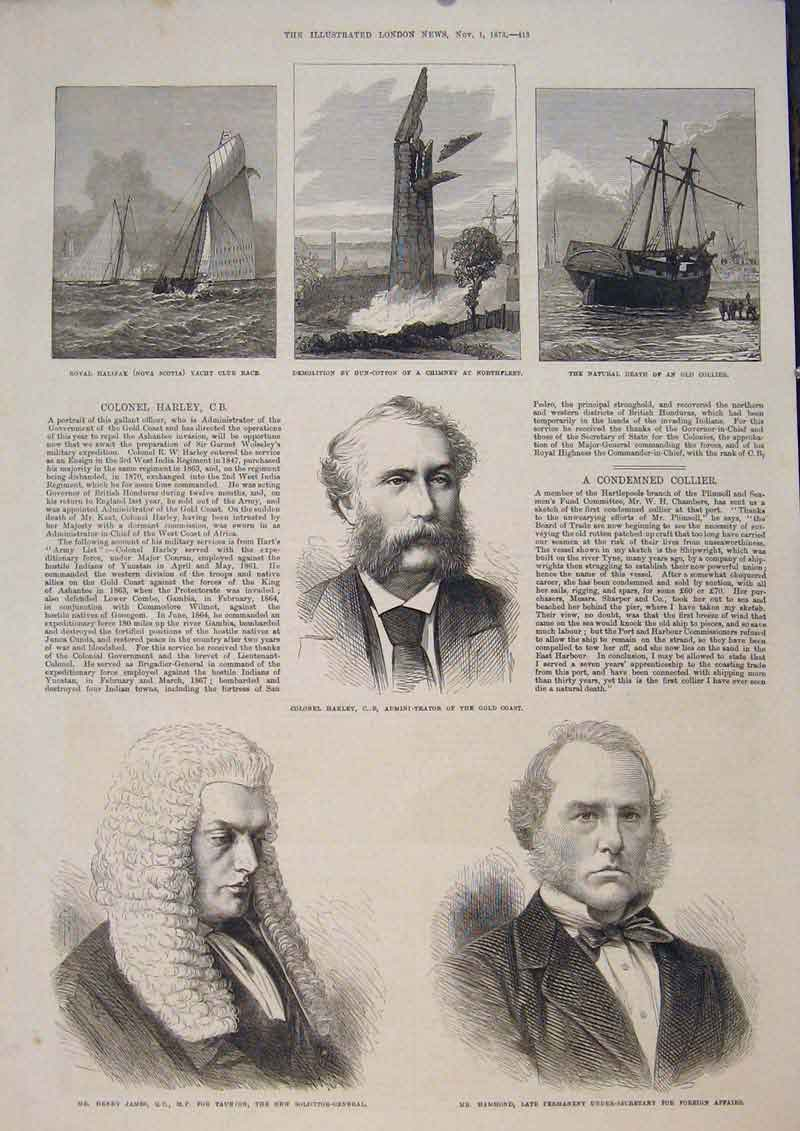 Print Portrait Harley James Hammond Halifax Gun Cotton 1873 13Maa1 Old Original