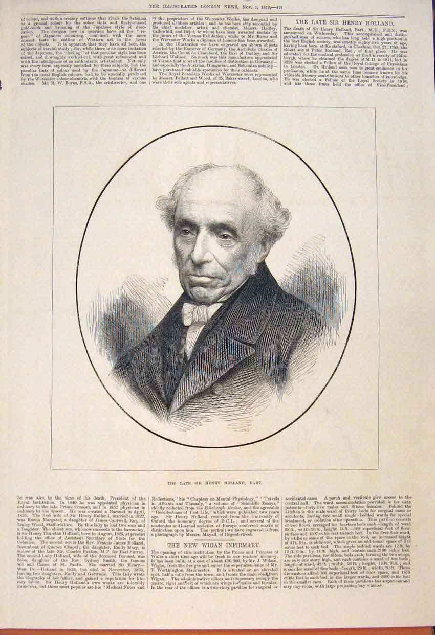 Print Portrait Holland Science Cheshire 1873 21Maa1 Old Original