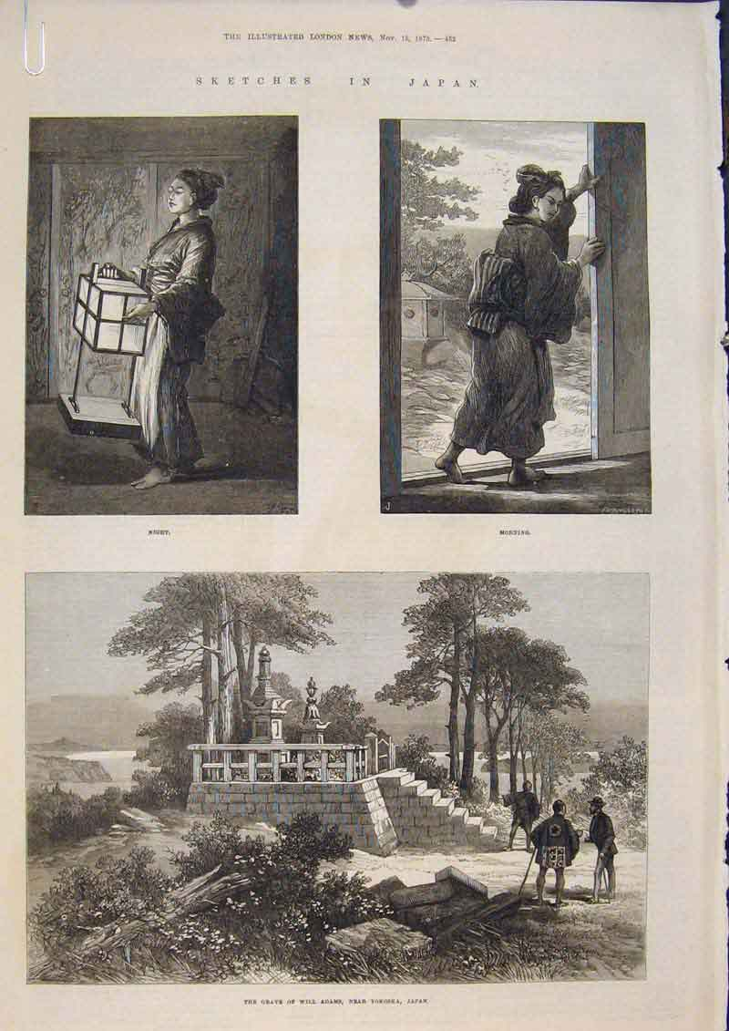 Print Sketches Japan Gave Adams Yokoska China Moshima 1873 52Amaa1 Old Original