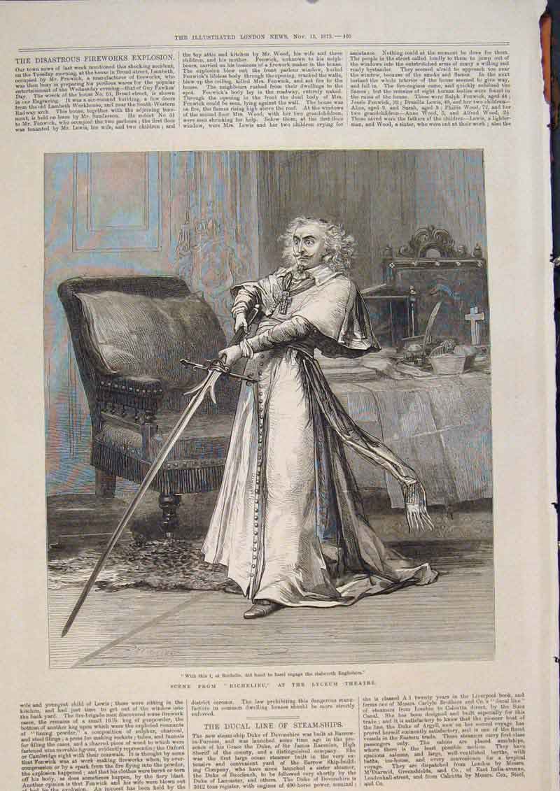Print Lyceum Theatre Richelieu London Actor 1873 60Maa1 Old Original