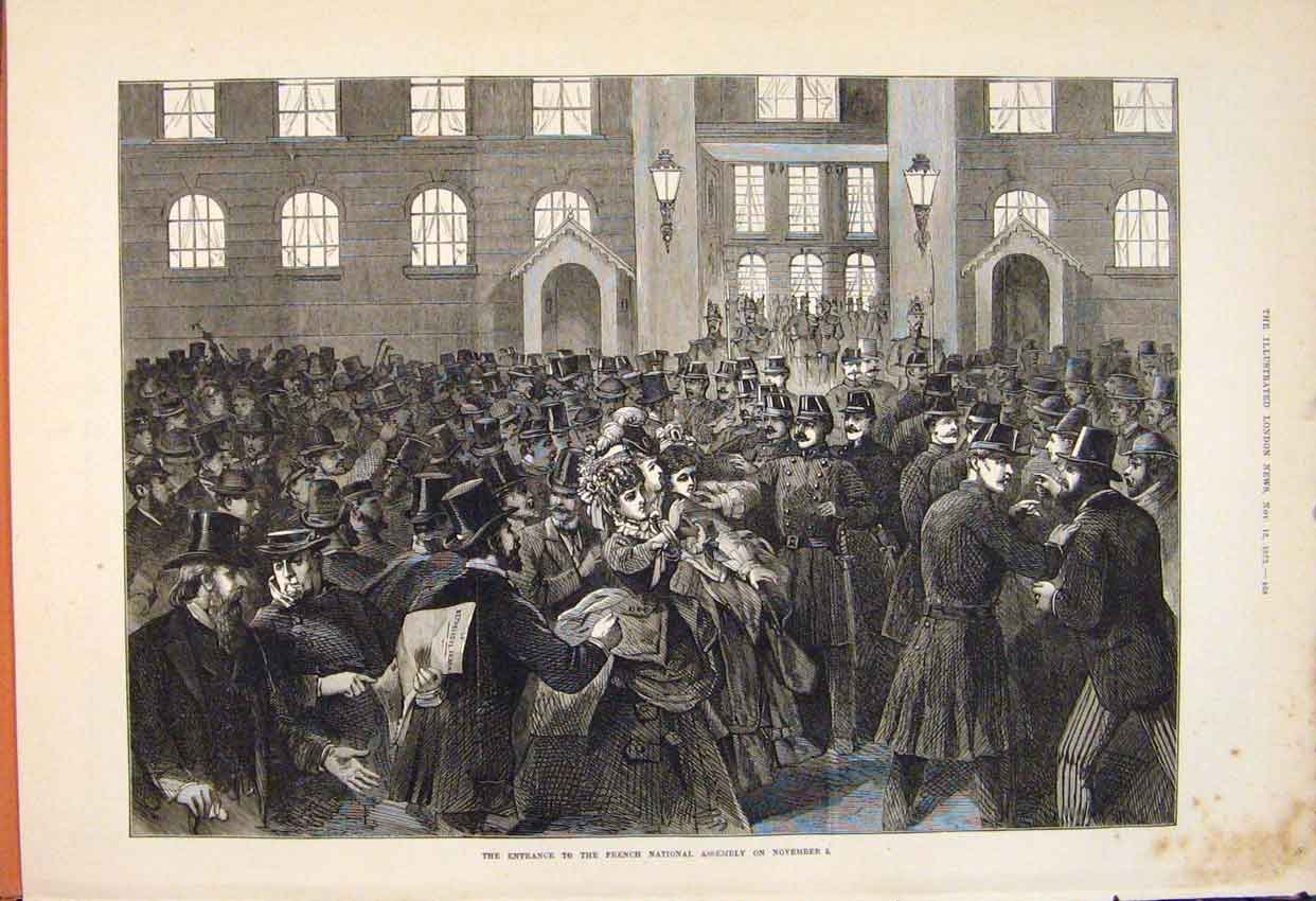 Print French National Assembly Entrance Crowd 1873 68Maa1 Old Original