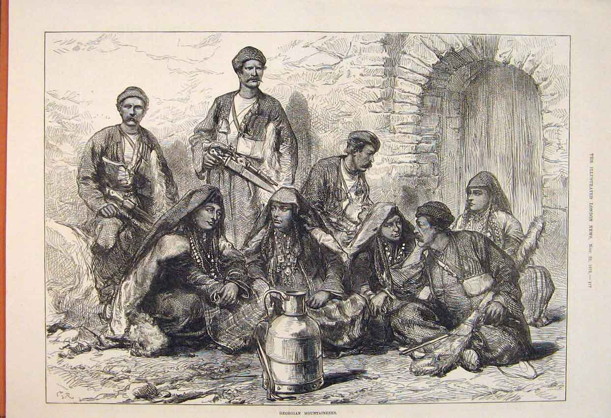 Print Georgian Mountaineers People 1873 77Maa1 Old Original