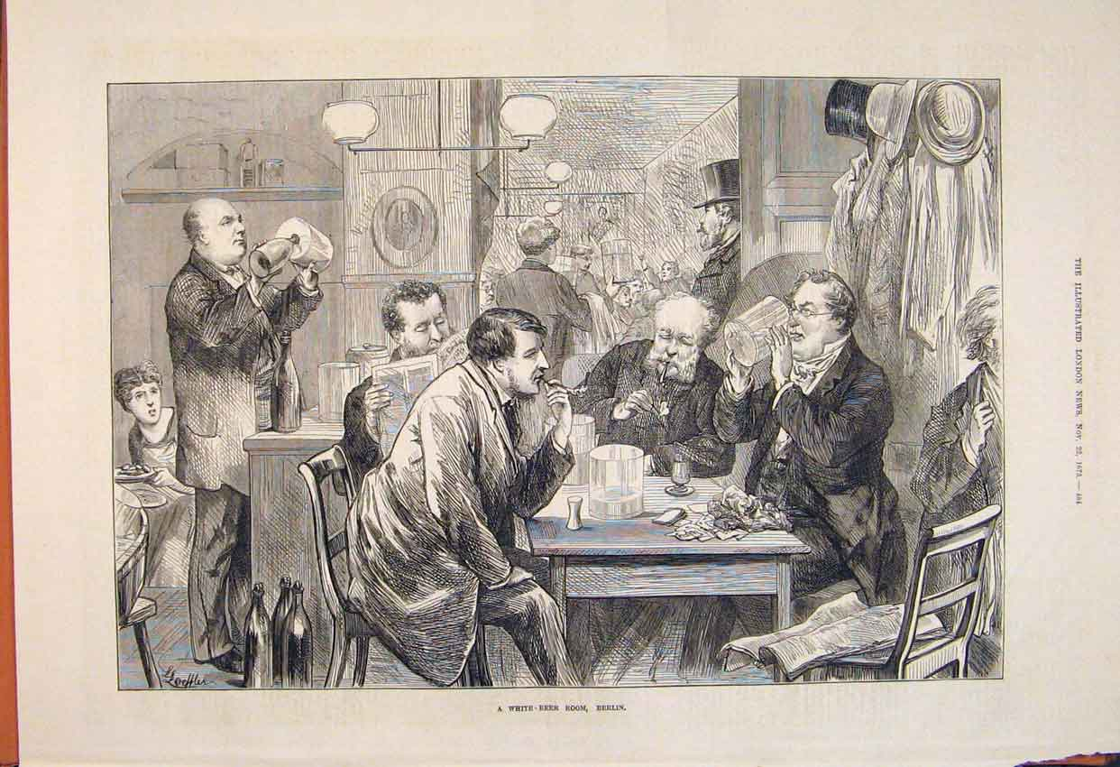 Print White Beer Room Berlin Germany 1873 84Maa1 Old Original