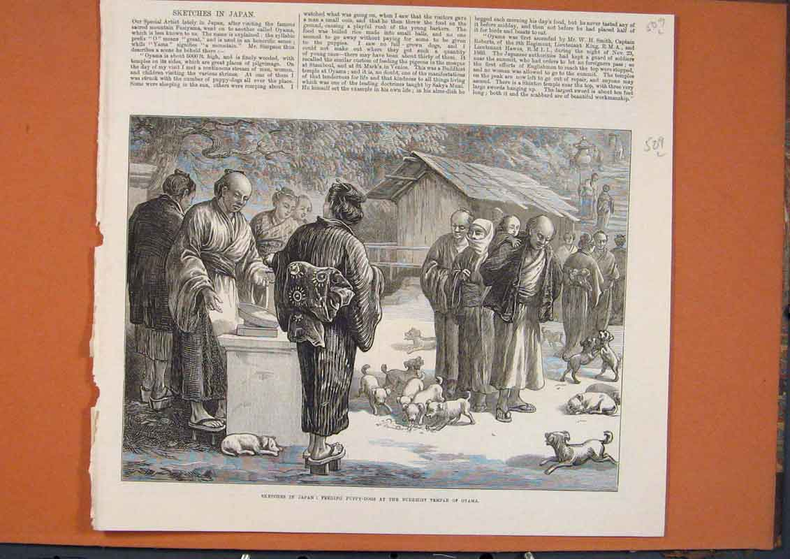 Print Oyama Temple Buddhist Japan Puppy Dogs 1873 09Lmaa1 Old Original