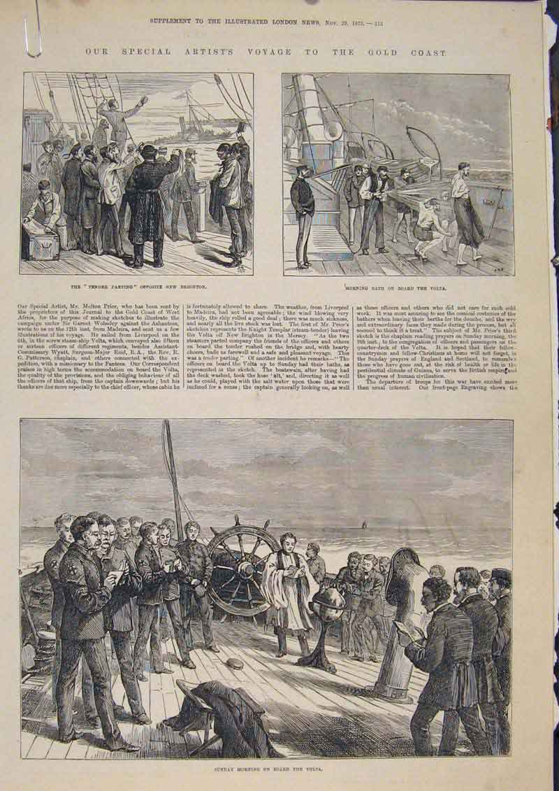 [Print Gcoast Volta Ship Brighton War Baring 1873 13Amaa1 Old Original]