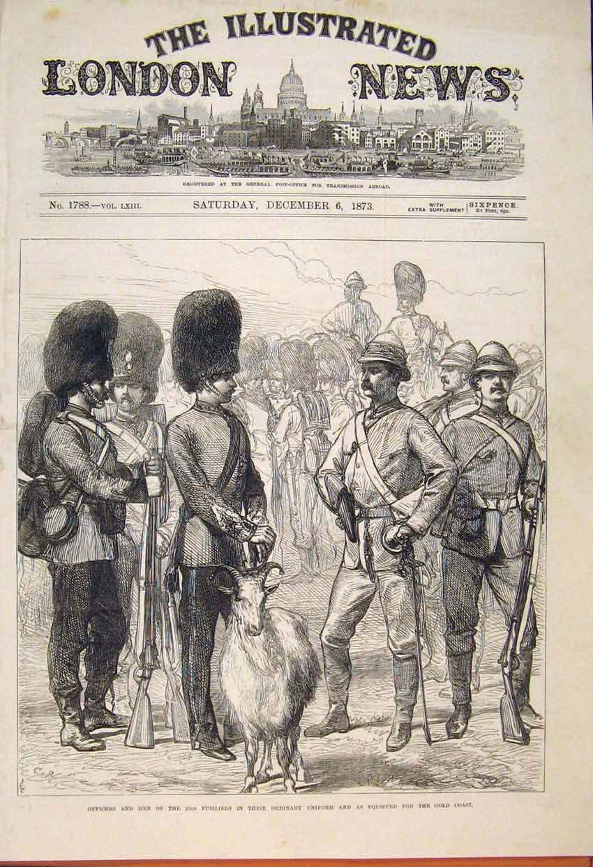 Print Ficers Men Fusiliers Uniform Gcoast Africa 1873 26Maa1 Old Original