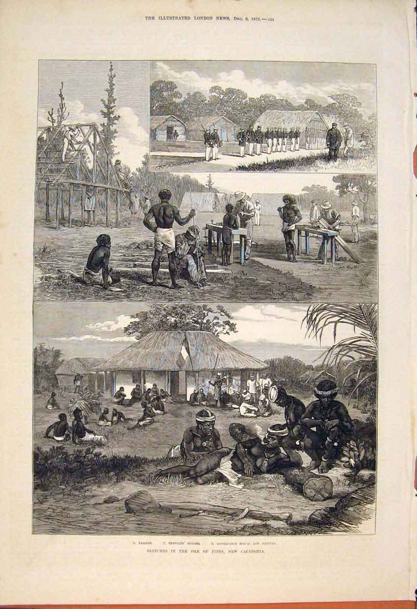 Print Sketches Isle Pines New Caledonia Parade Natives 1873 44Maa1 Old Original