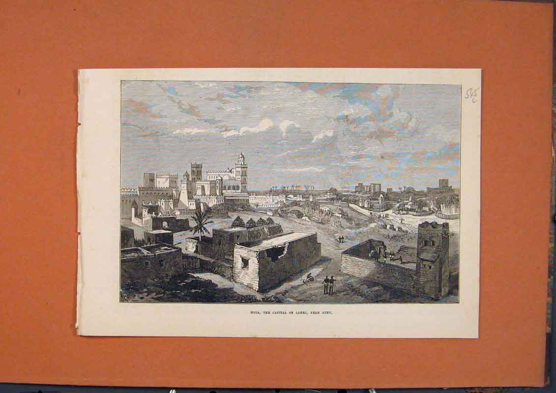 Print Hota Capital Lahej Aden View 1873 45Lmaa1 Old Original