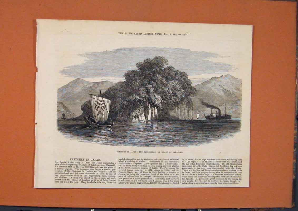 Print Sketches Japan Pappenberg Takaboko Island 1873 45Umaa1 Old Original