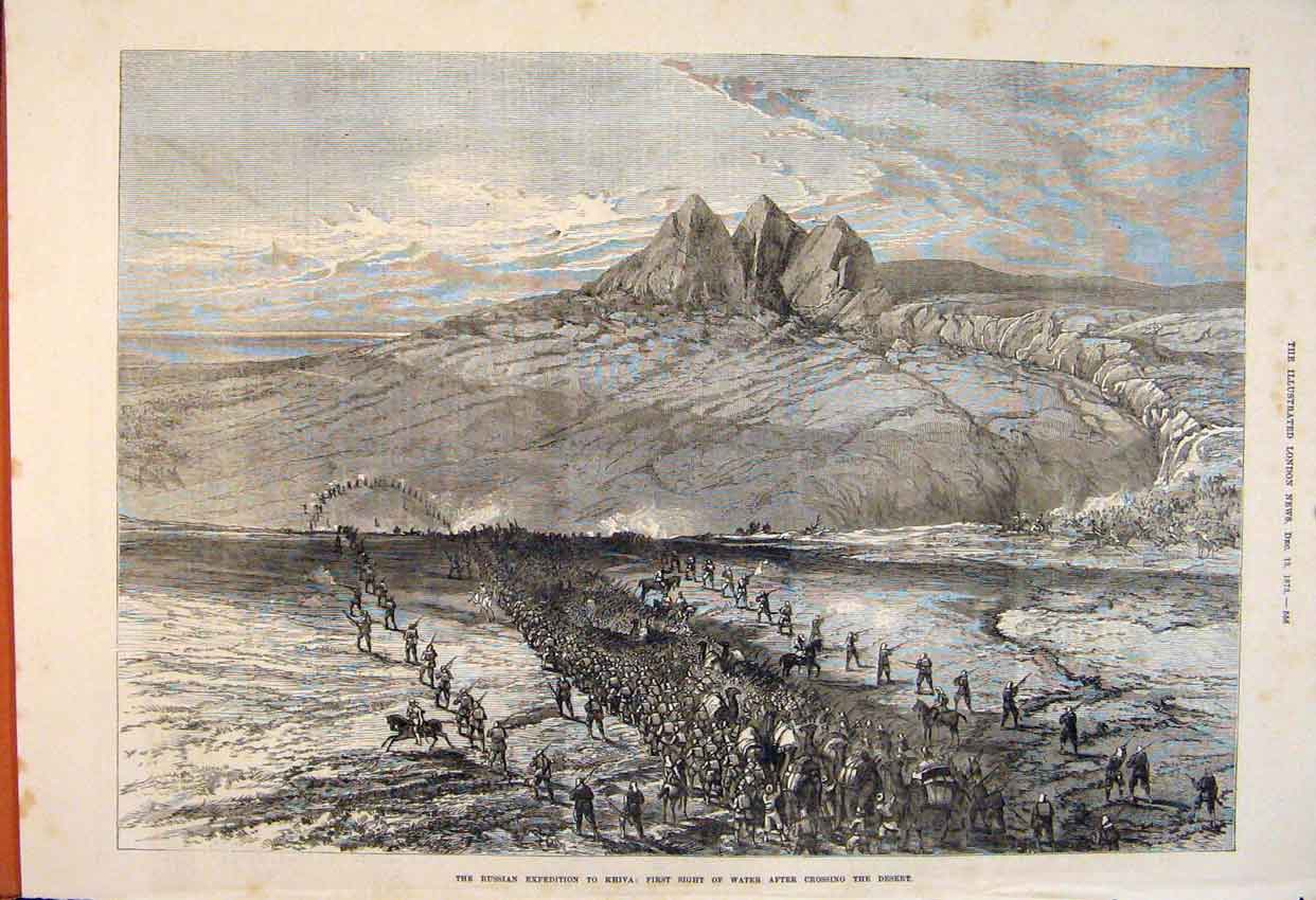 Print Russian Expedition Khiva Water Desert Troops 1873 56Maa1 Old Original