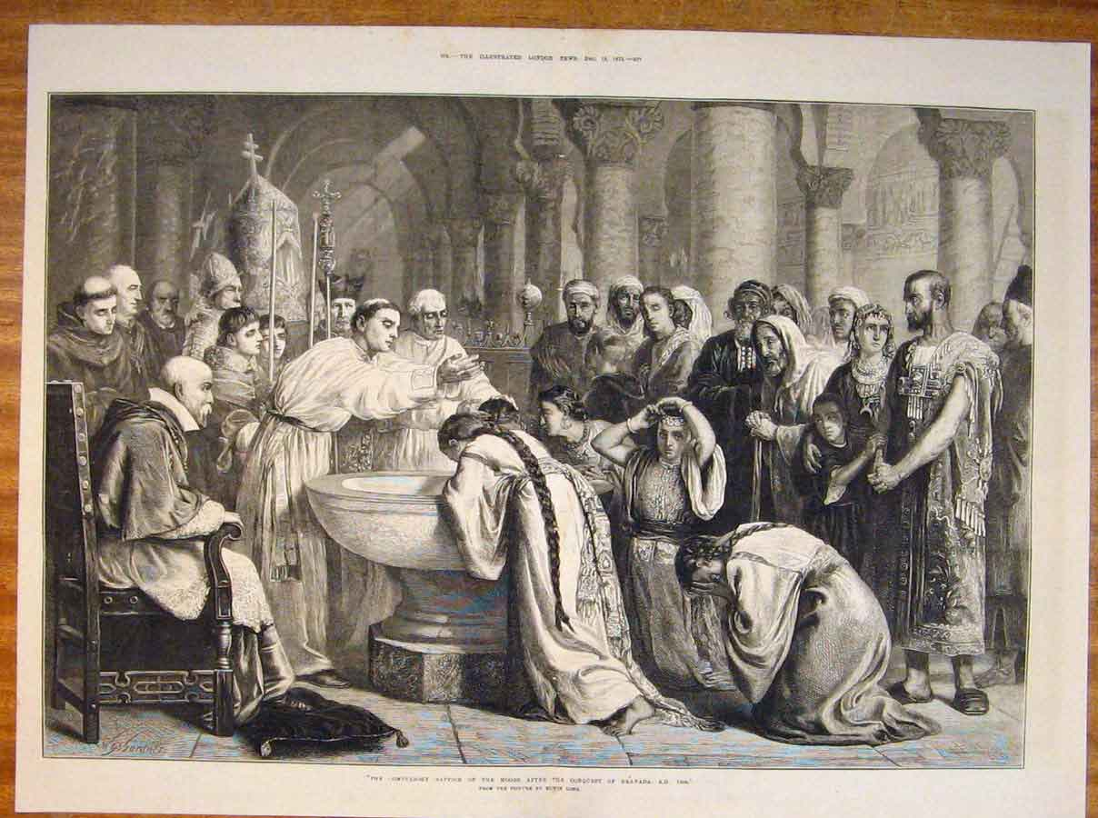 Print Baptism Moors Conquest Granada Long Fine Art 1873 75Tmaa1 Old Original