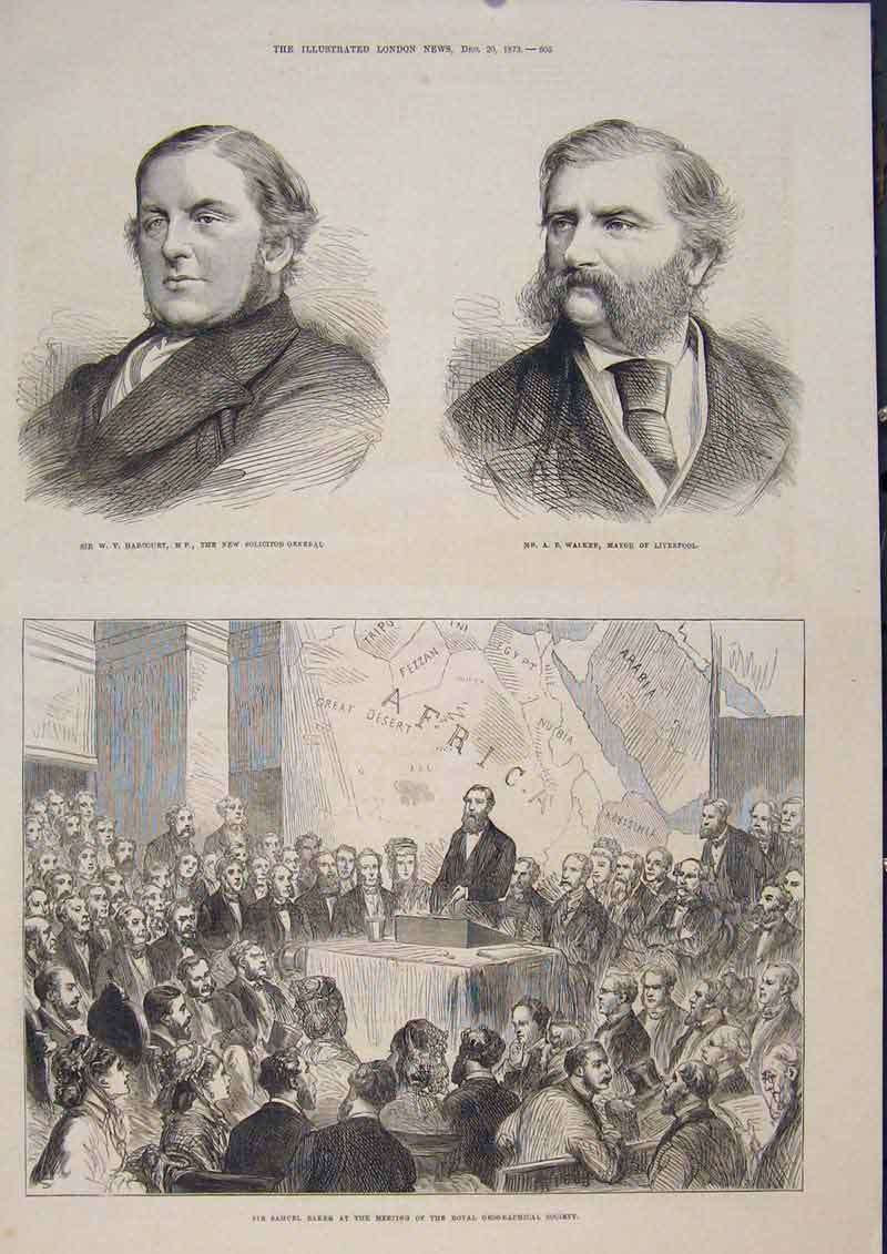 Print Portrait Walker Liverpool Harcourt Solicitor Baker 1873 05Maa1 Old Original
